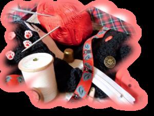 Verschiedene Materialien zum Stricken, Nähen und Häkeln.