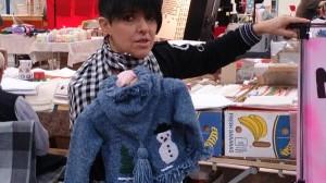 Mama-Maschenpunk mit Babygarnitur Snowman
